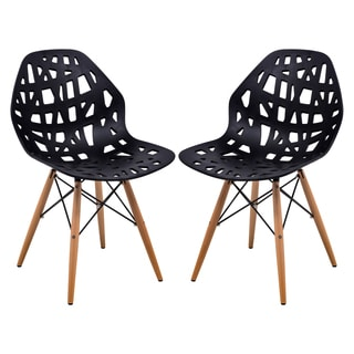 LeisureMod Akron Black Dining Side Chair W/ Dowel Eiffel Base Set of 2