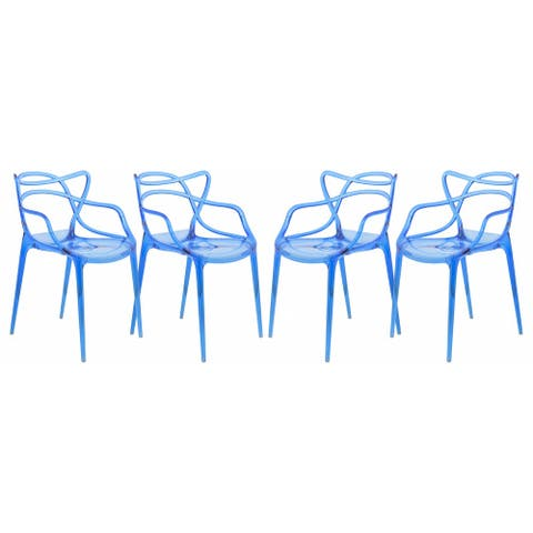 LeisureMod Milan Blue intertwined Design Dining Side Chair (Set of 4