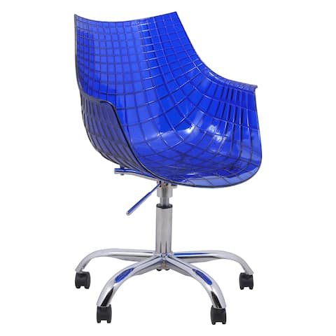 LeisureMod Ashville Blue Swivel Arm Office Chair with Chromed Legs