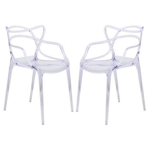 LeisureMod Milan Clear intertwined Design Dining Side Chair Set of 2)