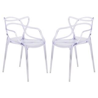 LeisureMod Milan Clear Design Chair (Set of 2)