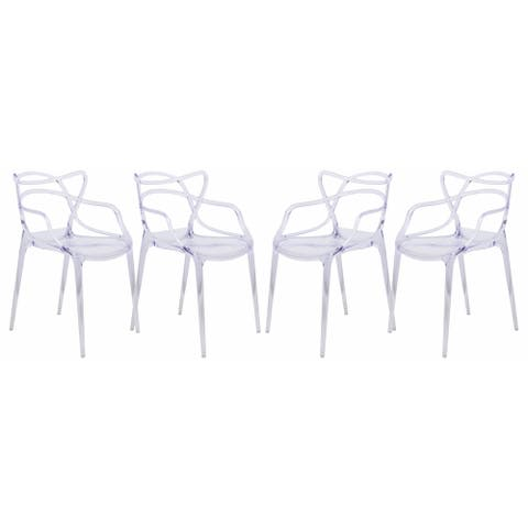 LeisureMod Milan Clear intertwined Design Dining Side Chair Set of 4