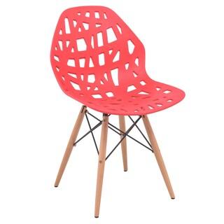 LeisureMod Akron Red Dining Side Chair W/ Dowel Eiffel Base
