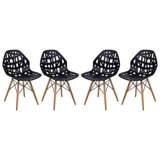LeisureMod Akron Black Cutout Side Chair (Set of 4)