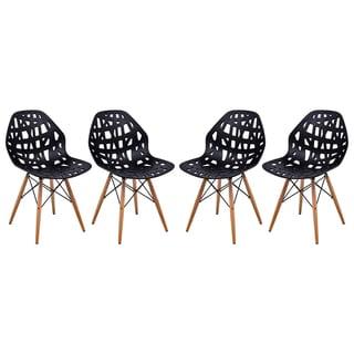 LeisureMod Akron Black Dining Side Chair W/ Dowel Eiffel Base Set of 4