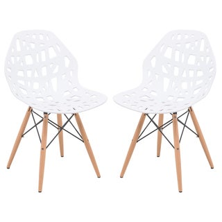 LeisureMod Akron White Cutout Side Chair (Set of 2)
