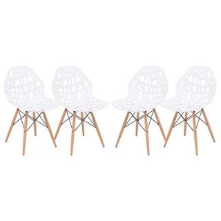 LeisureMod Akron White Cutout Side Chair (Set of 4)