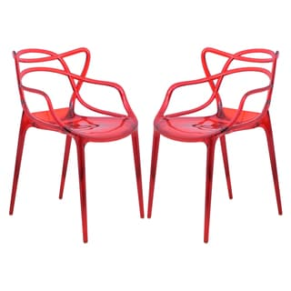 LeisureMod Milan Red Wire Chair (Set of 2)
