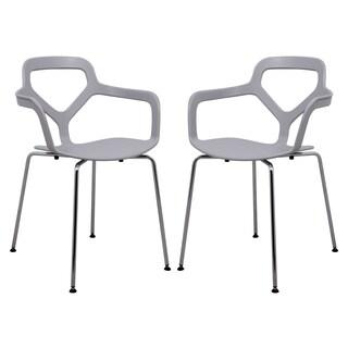 LeisureMod Light Grey Carney Arm Chair (Set of 2)