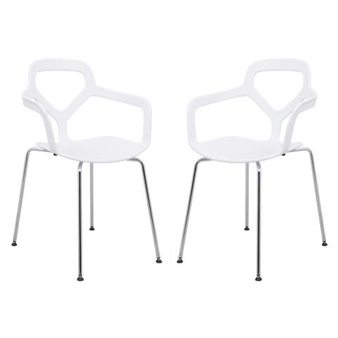 LeisureMod Carney White Dining Armchair W/ Chrome Legs Set of 2