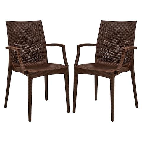 LeisureMod Weave Mace Indoor Outdoor Brown Dining Armchair Set of 2