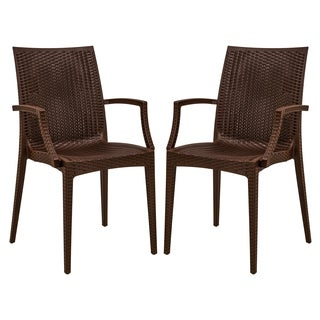 LeisureMod Mace Weave Wicker Design Indoor/ Outdoor Brown Dining Armchair (Set of 2)
