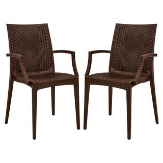 LeisureMod Mace Weave Wicker Design Indoor/ Outdoor Brown Dining Armchair (Set of 2)