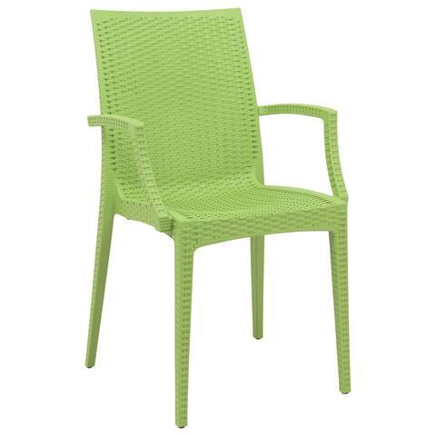 LeisureMod Weave Mace Indoor Outdoor Green Dining Armchair