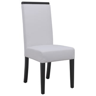 LeisureMod Elroy White Faux Leather Dining Chair