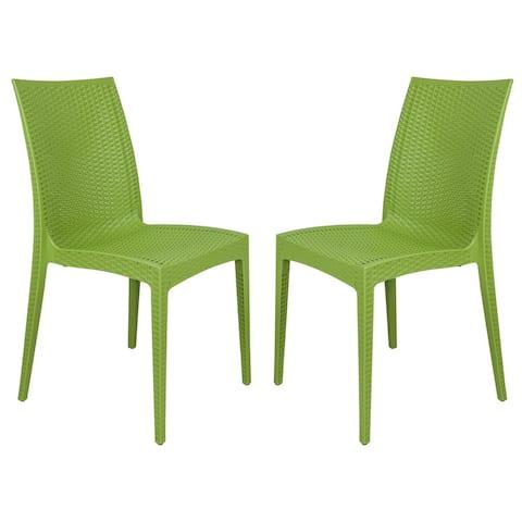 LeisureMod Weave Design Indoor Outdoor Dining Chair in Green Set of 2