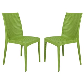 LeisureMod Mace Modern Weave Indoor/ Outdoor Green Dining Chairs (Set of 2)