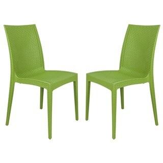 LeisureMod Mace Weave Design Indoor Outdoor Dining Chair in Green Set of 2