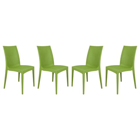 LeisureMod Weave Design Indoor Outdoor Dining Chair in Green Set of 4