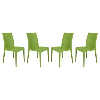LeisureMod Mace Weave Design Indoor Outdoor Dining Chair in Green Set of 4