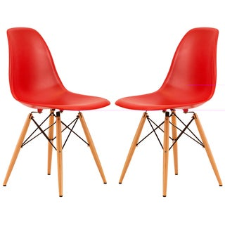 LeisureMod Dover Red Side Chair (Set of 2)