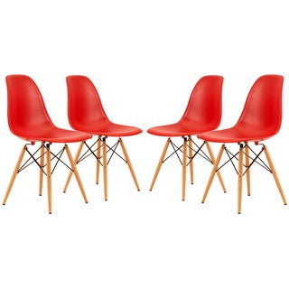 LeisureMod Dover Red Side Chair (Set of 4)