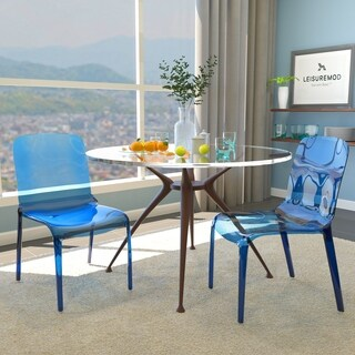 LeisureMod Laos Transparent Blue Dining Chair (Set of 2)