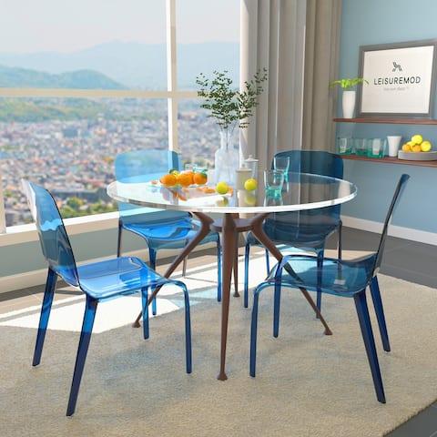 LeisureMod Laos Modern Transparent Blue Dining Chair (Set of 4)