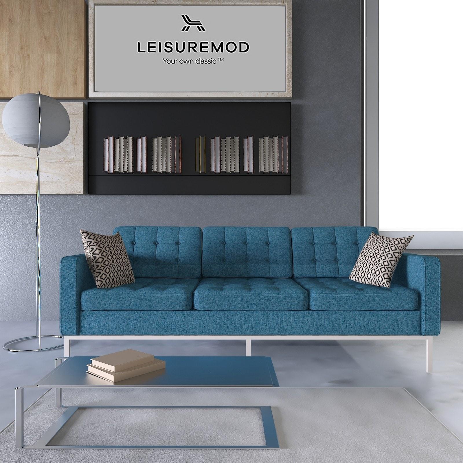 LeisureMod Lorane Blue Twill Wool Button-tufted Sofa (Blu...
