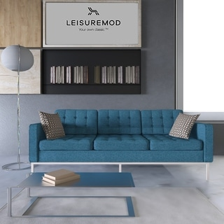LeisureMod Lorane Blue Twill Wool Button-tufted Sofa