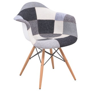 LeisureMod Willow Patchwork Patterned Armchair with Wooden Eiffel Legs