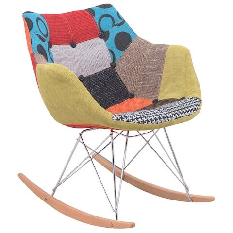 LeisureMod Willow Modern Petite Patchwork Eiffel Base Rocking Chair