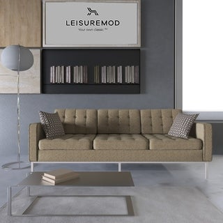 LeisureMod Lorane Oatmeal Sofa