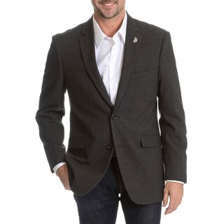 USPA Men's 2-Button Herringbone Elbow Patch Blazer