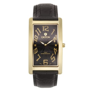 Croton Men's CN307533YLBK Stainless Steel Goldtone Rectangular Watch