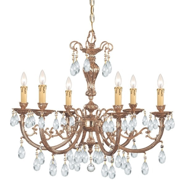 Crystorama Etta Collection 6 Light Olde Brass Chandelier 17809553