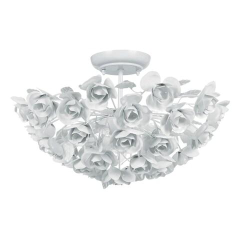 Crystorama Cypress Collection 3-light Wet White Semi-flush Mount