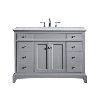 Eviva Elite Stamford 48-inch Grey Bathroom Vanity Set with Double OG White Carrera Marble Top & White Undermount Porcelain Sink