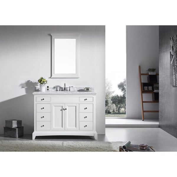 Shop eviva elite stamford 48 inch white bathroom vanity - 48 inch white bathroom vanity with top ...