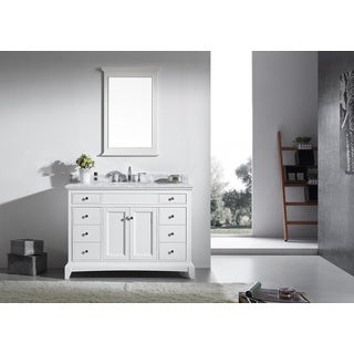 Eviva Elite Stamford 48-inch White Bathroom Vanity Set with Double OG White Carrera Marble Top & White Undermount Porcelain Sink