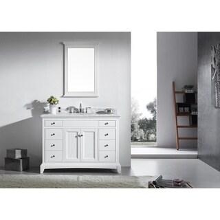 Eviva Elite Stamford 48-inch White Bathroom Vanity Set with Double OG White Carrera Marble Top & White Undermount Porcelain Sink