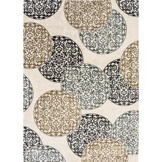 Cappella Floral Circles Ivory Area Rug (2'2 x 7'10)