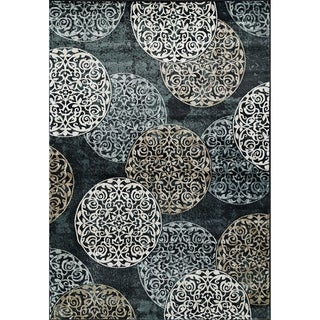 Cappella Floral Circle Blue Area Rug (2'2 x 7'10)