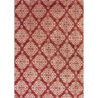 Cappella Floral Diamonds Terracotta Area Rug (2'2 x 7'10)