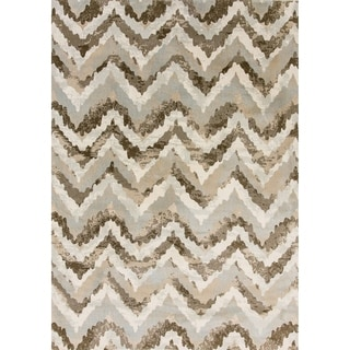 Cappella Faded Chevron Beige Area Rug (2'2 x 7'10)