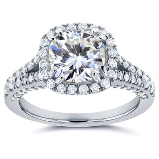 Annello by Kobelli 14k White Gold 2 1/3ct TGW Moissanite and Diamond Cushion Halo Split Shank Profile Accented Engagement Ring