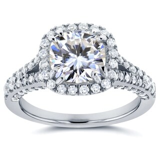 Annello by Kobelli 14k White Gold 2 1/3ct TGW Moissanite and Diamond Cushion Halo Split Shank Engagement Ring