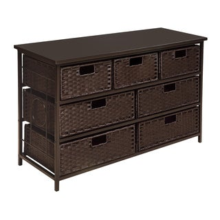 Badger Basket Espresso August Collection Wide Seven Basket Storage Unit