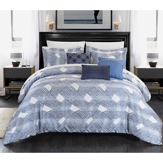 Chic Home Antoinette Blue Jacquard 10-piece Bed-in-a-Bag Set