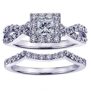 White Gold 1 1/6ct Braided Princess-cut Diamond Engagement Wedding Band Set (G-H, SI1-SI2)